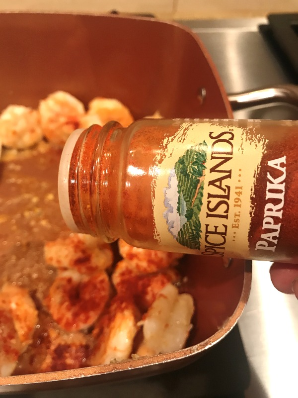 Paprika in shrimp pasta