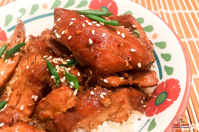 Chicken thighs simmered in soy sauce and ginger
