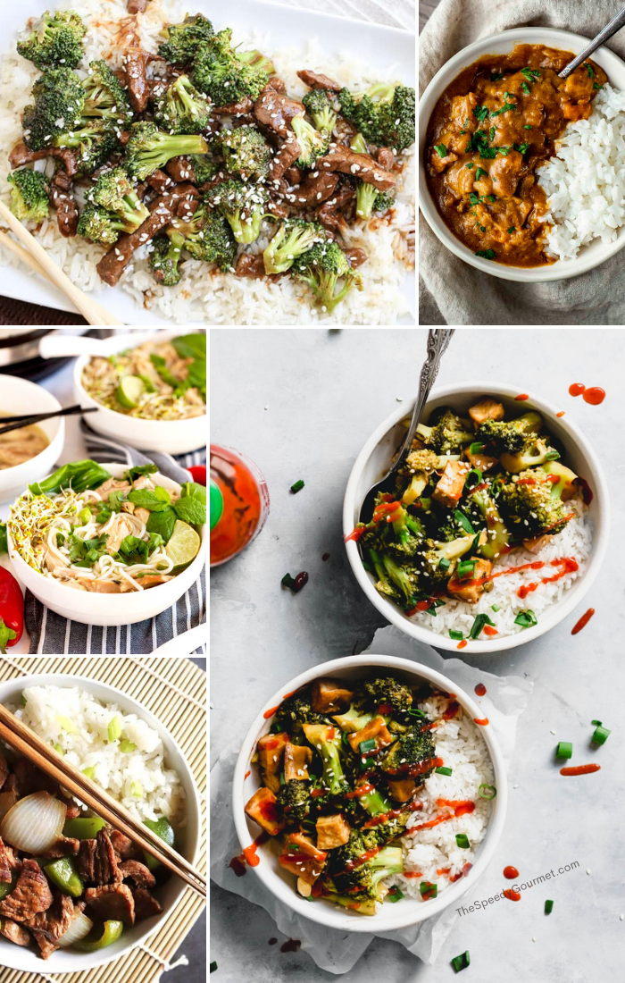 collage of white bowls of asian recipes on white backgrounds
