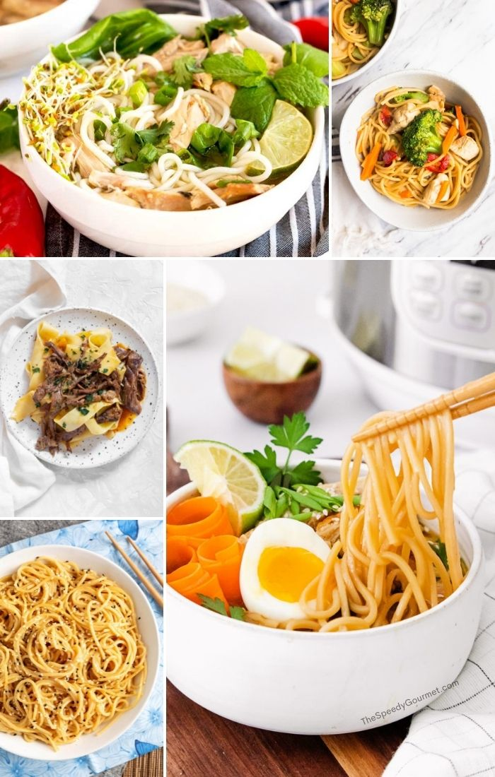 white bowls of colorful noodle recipes in a collage image