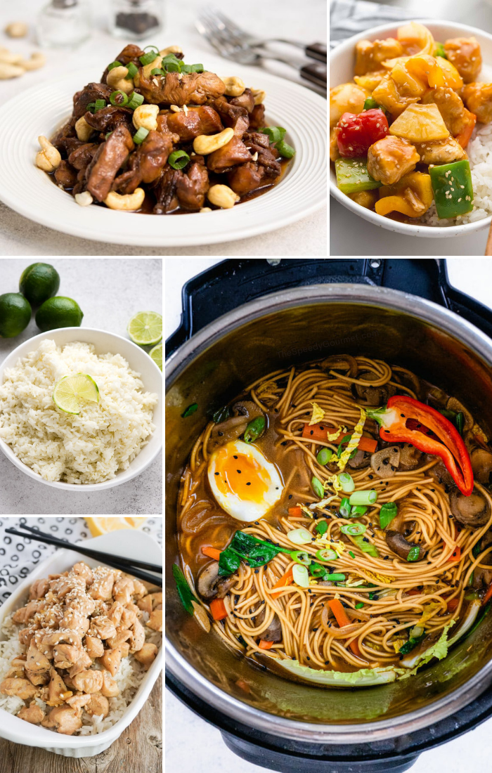 instant pot top view of asian recipe inside plus 4 plates of different asian recipes